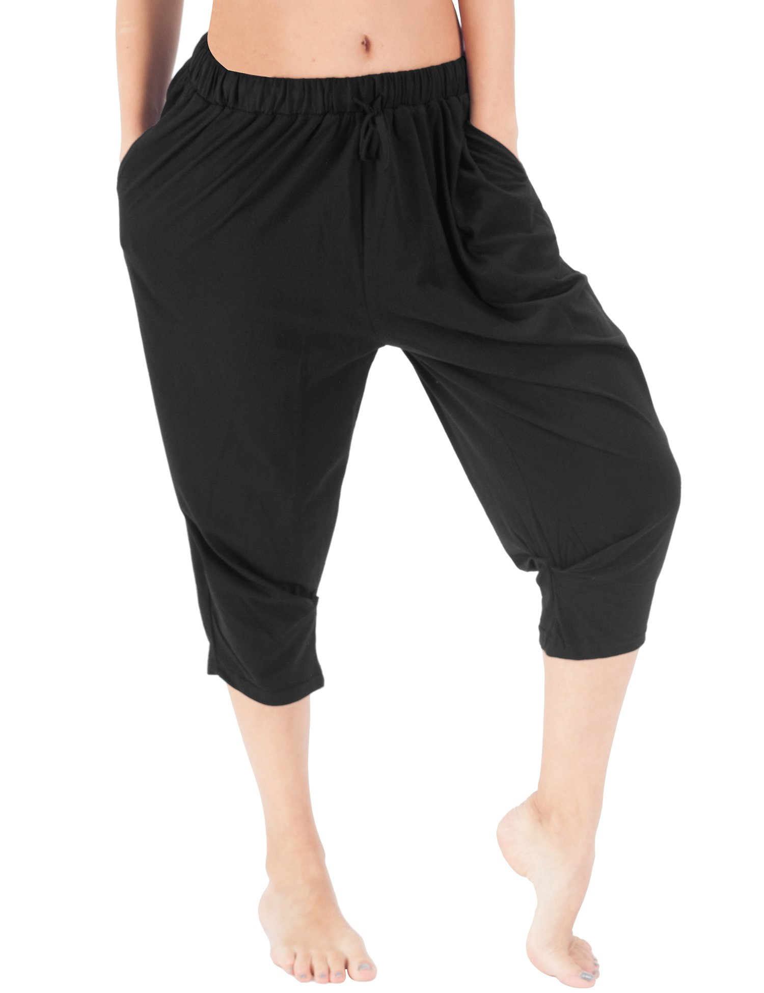 WEWINK CUKOO Women Cotton Pajama Capri Pants Cropped Lounge Pants Pockets Harem Pants (M=US 8-10, Black)