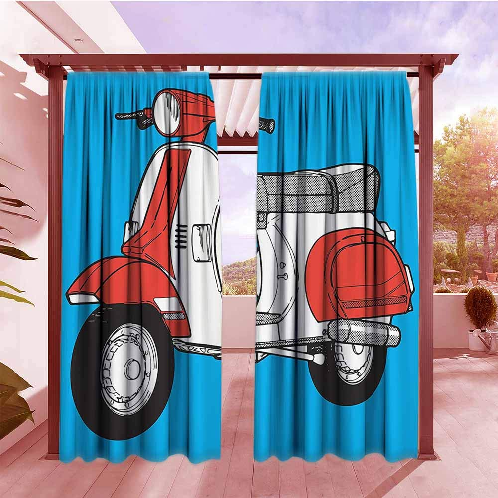 Window Curtain Funky Decor Cute Scooter Motorcycle Retro Vintage Vespa Soho Wheels Rome Graphic Print Room Darkening, Noise Reducing W108x84L Blue Red White by DGGO