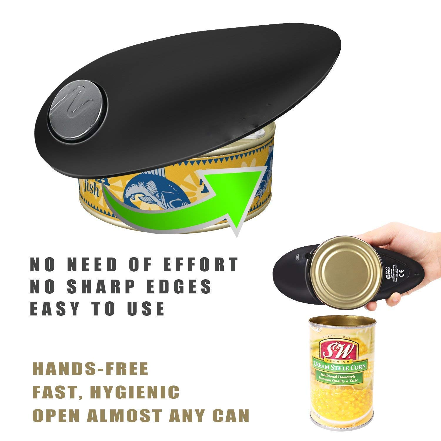 Electric Can Opener, Cakie Restaurant Can Opener Smooth Soft Edge One-touch Battery Automatic Electric Hands-free Can Opener For Kitchen Arthritis Elderly Travel and Chef's Best Choice's (Red) VantaKool