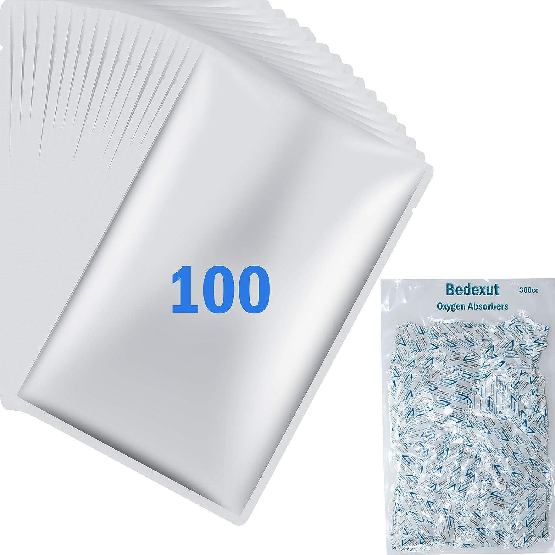 Bedexut 100 Pack 1 Gallon Mylar Bags (4.5 Mil, 10x16