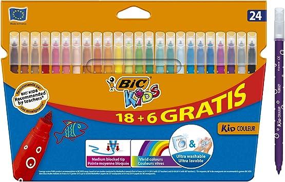 BIC Kids Kid Couleur rotuladores punta media - colores Surtidos, Caja de 18+6: Amazon.es: Hogar