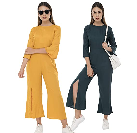 nice cheap sale official images Buy Milkyway Women's Mustard, Blue Rayon Jumpsuit (Pack of 2) at ...