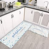 """Kitchen Rugs and Mats LEEVAN Non Skid Washable Anti Fatigue Kitchen Floor Mats Set of 2 17""""X29""""+17""""X47"""" Thick Cushioned Comfo"""