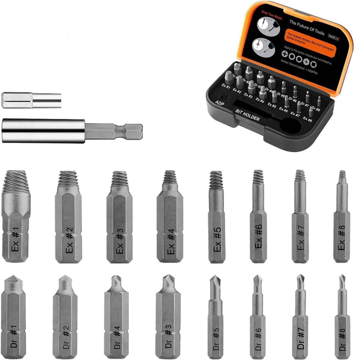 TACKLIFE 18PCS Extractor de Tornillos, Brazo Extensor para Broca Magnetizado y Adaptador para Tornillos y Pernos Dañados Desde 2mm hasta 12mm, Dureza 62HRC, DSE01