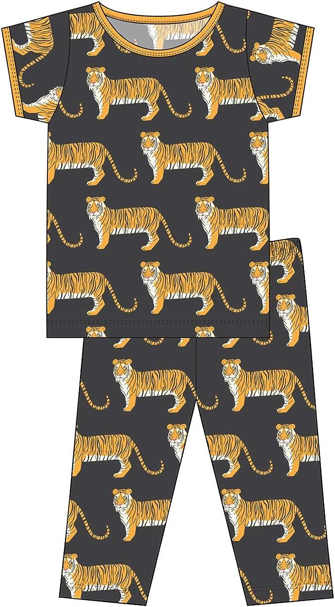 Kickee Pants Little Boys Custom Print Short Sleeve Pajama Set 2T Zebra Tiger