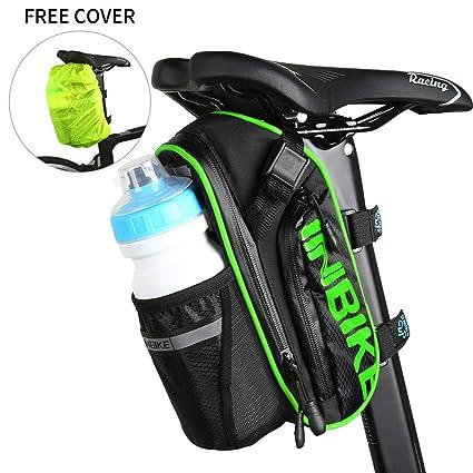 Arkmiido Bolsas para Sillines de Bicicletas, Accesorios de Bicicleta de Montaña Bolsa de Poliéster, Bolsillo para Botella de Bicicleta de 1.2L y ...