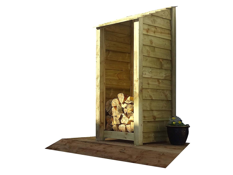 De madera único Bay de madera LOG store - 6 ft - Luz Verde - hecho a mano al aire libre cobertizo de almacenamiento de leña de madera tratada a presión: ...