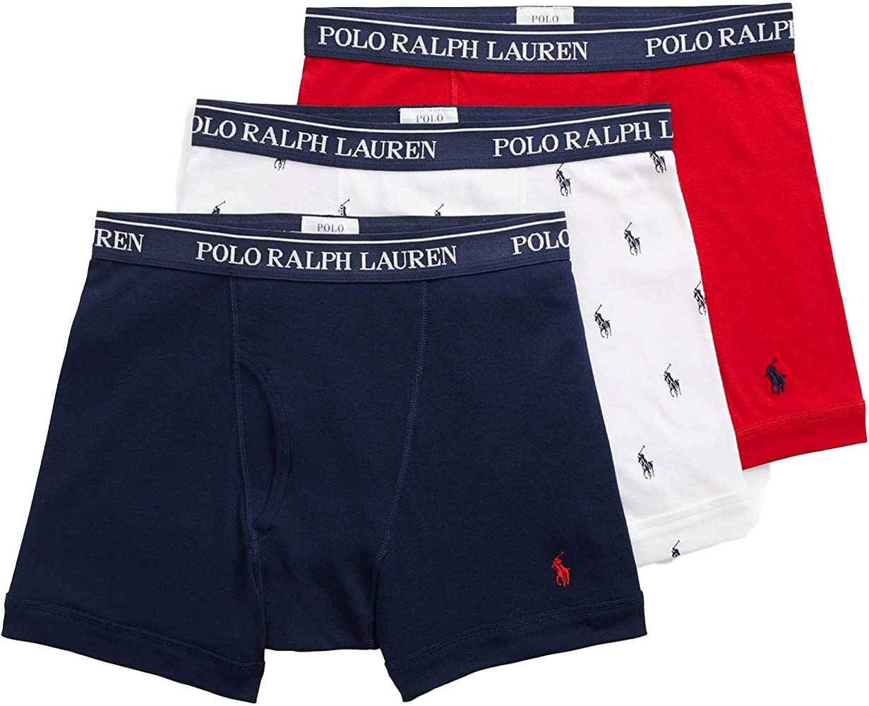 Polo Ralph Lauren Classic Cotton Boxer Brief 3-Pack, L, White ...