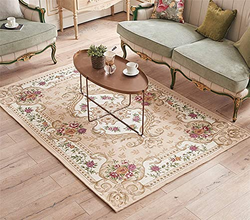 LISIBOOO Oriental Traditional Floral Area Rugs, Thick Soft Non Slip Large Carpet, for Living Room Dining Room Bedroom Sitting Room Entryway Hallway Doorway 5 2 x7 6 , Beige