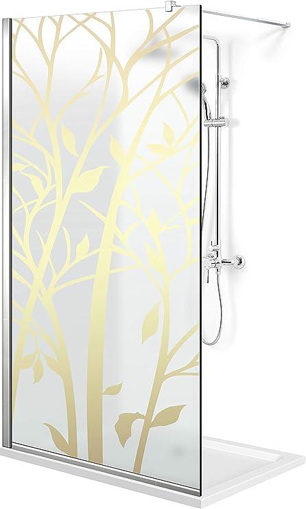 Modern Leroy Timeless - Mampara de ducha (madera de 8 mm, cristal de seguridad templado satinado, revestimiento nano, accesorios de acero inoxidable SS304), dorado: Amazon.es: Bricolaje y herramientas