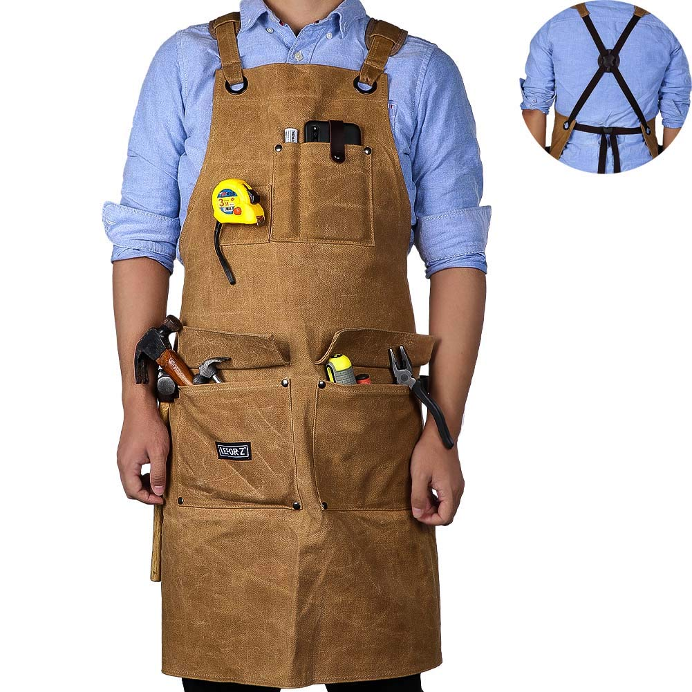 Work Apron,16 OZ Waxed Canvas Tool Apron for Men & Women, Shop Apron with Cross-Back Straps,Adjustable M to XXL (Brown) by LEFOR·Z