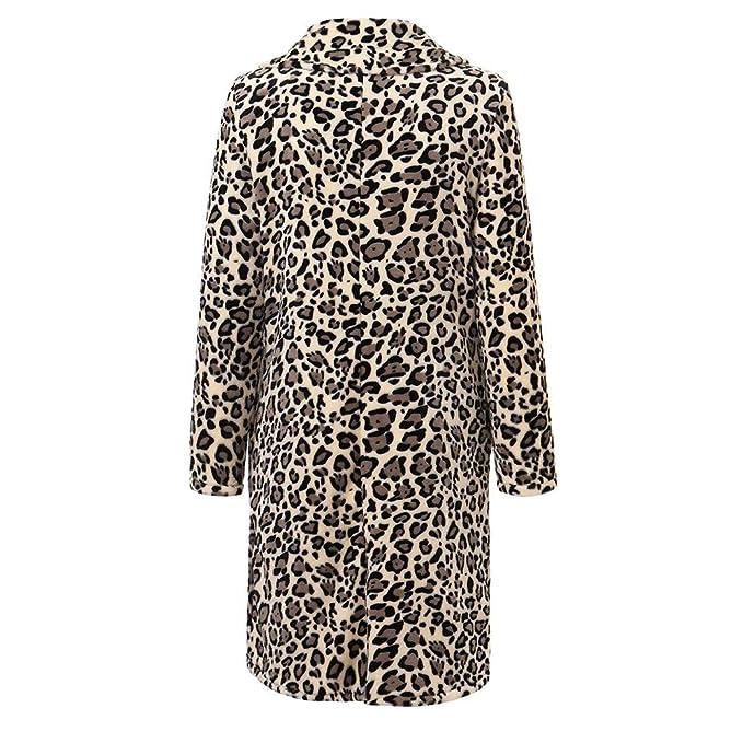 Luckycat Las Mujeres de Invierno Moda Casual Estampado de Leopardo Sexy Warm New Windbreaker Cardigan Abrigo Largo: Amazon.es: Ropa y accesorios