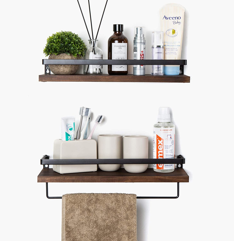 SODUKU Floating Shelves Wall Mounted Storage Shelves for Kitchen, Bathroom, Set of 2 Brown