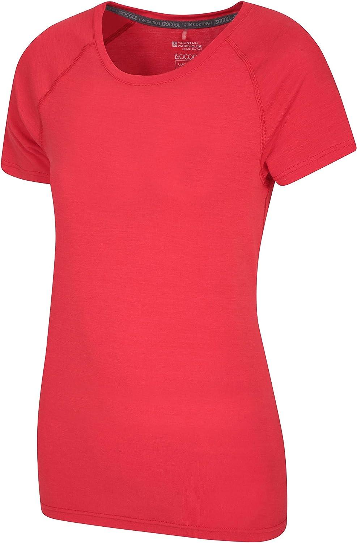 Camisa Corta de Las Mangas Mountain Warehouse Camiseta t/écnica de Las Mujeres de IsoCool Tapa protegida UV de Las se/ñoras Azul 32 Camisa Redonda de la te del Cuello