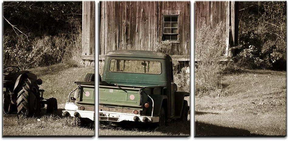 Old Farm Truck And Barn - 3 Panel Canvas Art