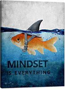 Modern Motivational Wall Art Mindset is Everything Goldfish Inspirational Quotes Canvas Motivational Entrepreneur Positive Office Wall Decor Ready to Hang for Living Room Decor - 18'' W x 24''H