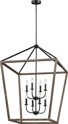 Feiss F3194 8WOW AF Gannet Wood Lantern Pendant Lighting, Brown, 8-Light 26 W x 43 H 480watts