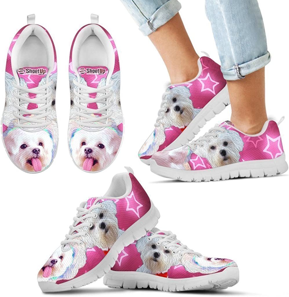 Pawlion Cute Maltese Print Running Shoes for Kids Casual Comfortable Sneakers Running Shoes