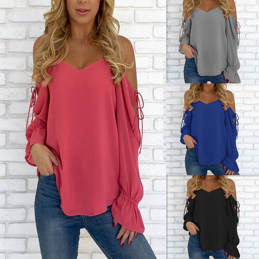 Hibote Mujer Blusa Gasa Camisa Mujer Blusas Sling Off Shoulder Tops Elegante Camiseta de Corte Holgado Camisas de Color Sólido: Amazon.es: Ropa y accesorios
