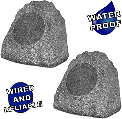 Theater Solutions RK8GBT Powered Bluetooth Outdoor Granite Grey 8 Rock Speaker Pair with Dual Connection Options Gray