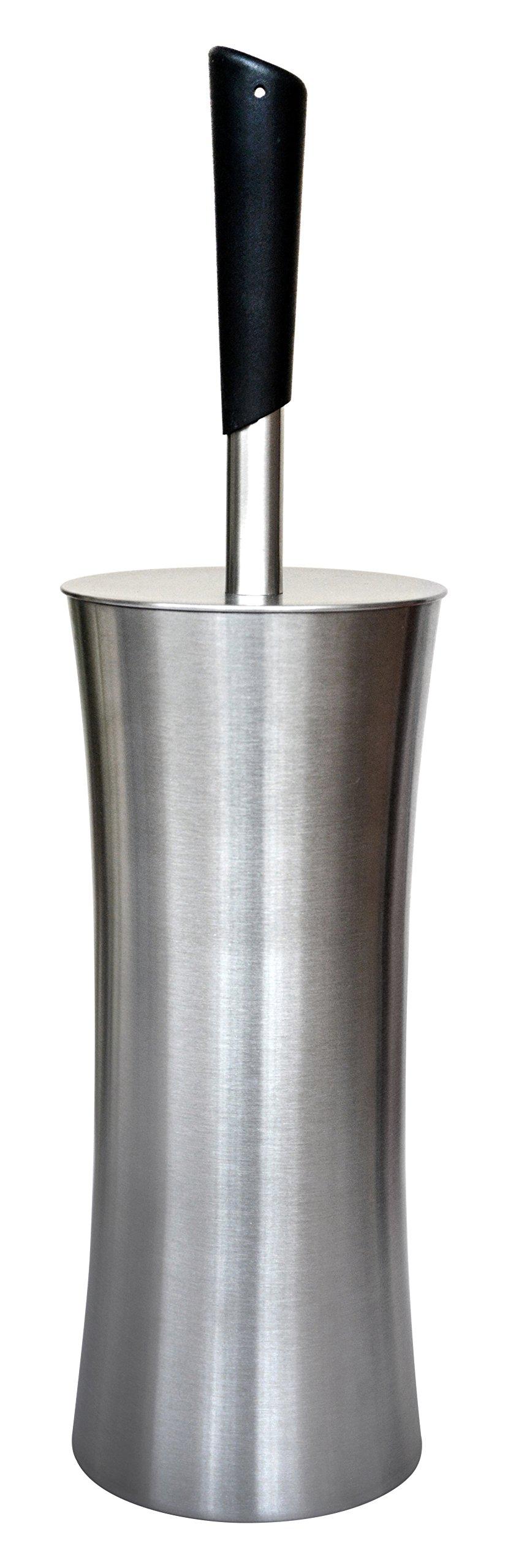 BathSense NEV1901SAT Satin Nickel Never Wet Toilet Brush Set with Holder