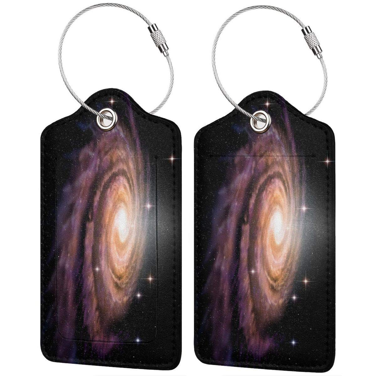 Lucaeat Spiral Galaxy Luggage Tag PU Leather Bag Tag Travel Suitcases ID