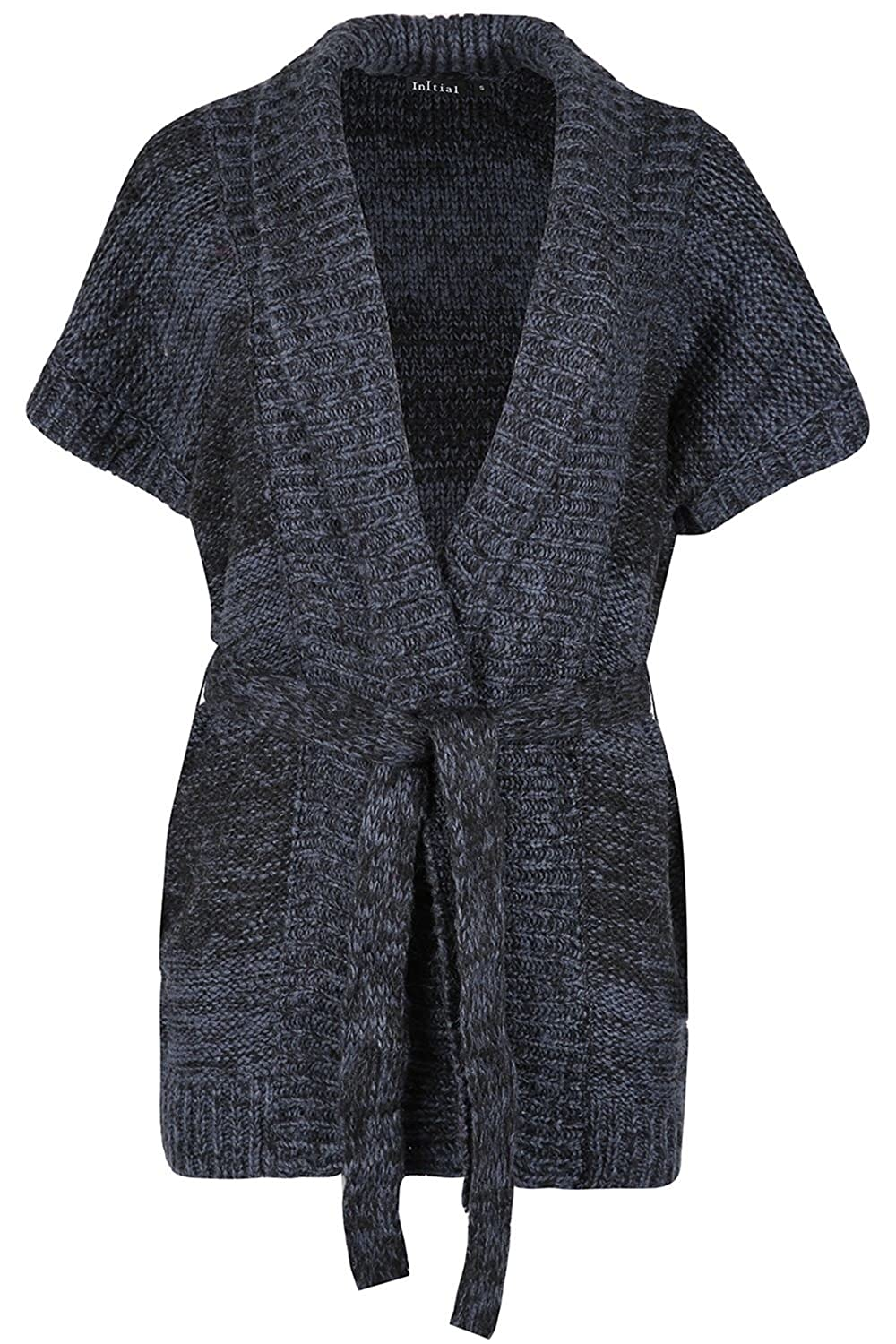 Women Ladies Open Front Collared Cap Sleeve Tie Belted Marl Knitted Cardigan Top