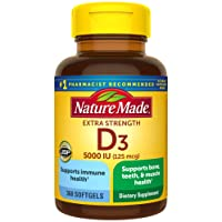 Nature Made Extra Strength Vitamin D3 5000 IU Softgels (125 mcg), 360 Count for...