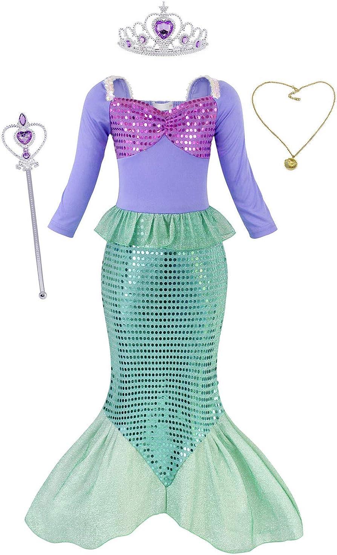 AmzBarley Sirenita Ariel Disfraz Niña Cumpleaños,Princesa Sirena Vestido Ropa Niña sin Manga Larga/Corta con Accesorios para Boda Fiesta Cosplay Halloween Navidad Carnaval Ceremonia Bautizo