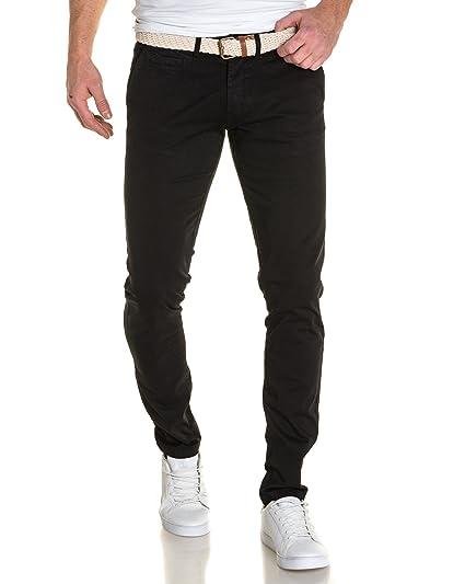 Backlight - Pantalon Chino Homme Noir avec Ceinture - Couleur  Noir -  Taille  FR46 f63de26e24d