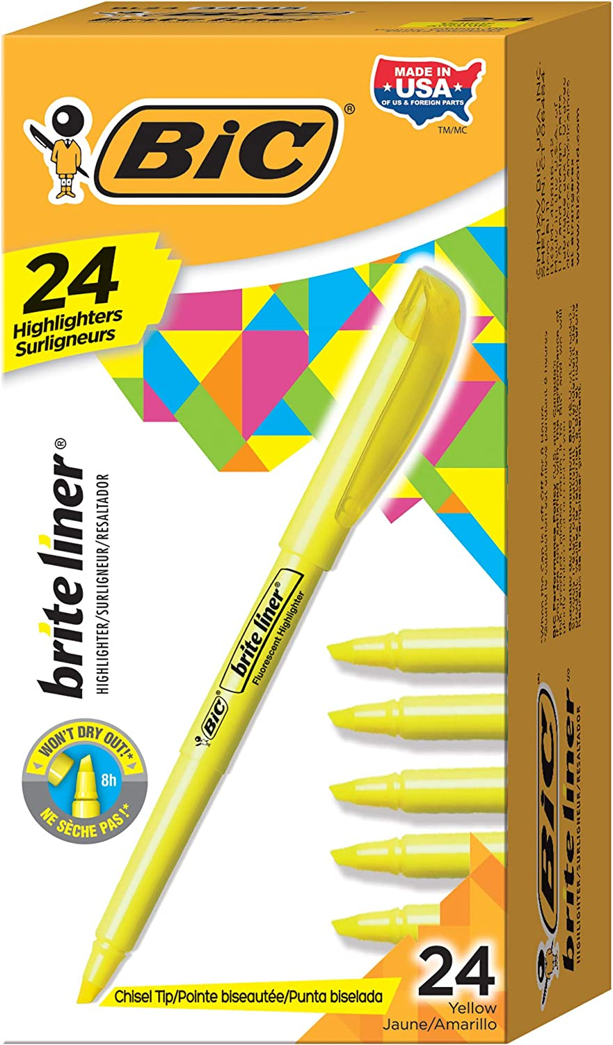 BIC Brite Liner Highlighter, Chisel Tip, Yellow, 24-Count