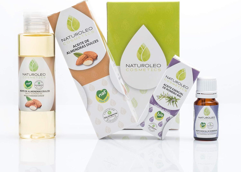 Naturoleo Cosmetics - Aceite Almendras Dulces NAT + Romero Alcanfor BIO - Pack Masaje Aromaterapia 100% Puro y Ecológico Certificado - 100 ml + 10 ml: Amazon.es: Salud y cuidado personal