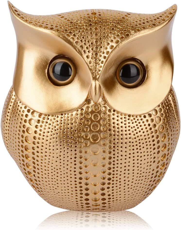 Owl Statue Home Decor, Retro Buho Owls Figurines For Unique Home Decorations, Living Room Decorations, Gold Office Decor, Small Decor Items For Shelf, Bookself TV Stand Decor, Owl Gifts For Owl Lovers