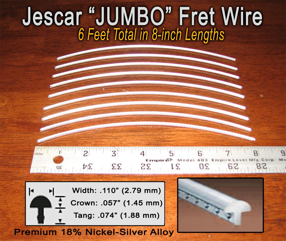 Guitar/Bass Fret Wire - Jescar JUMBO Size Nickel-Silver - Six Feet