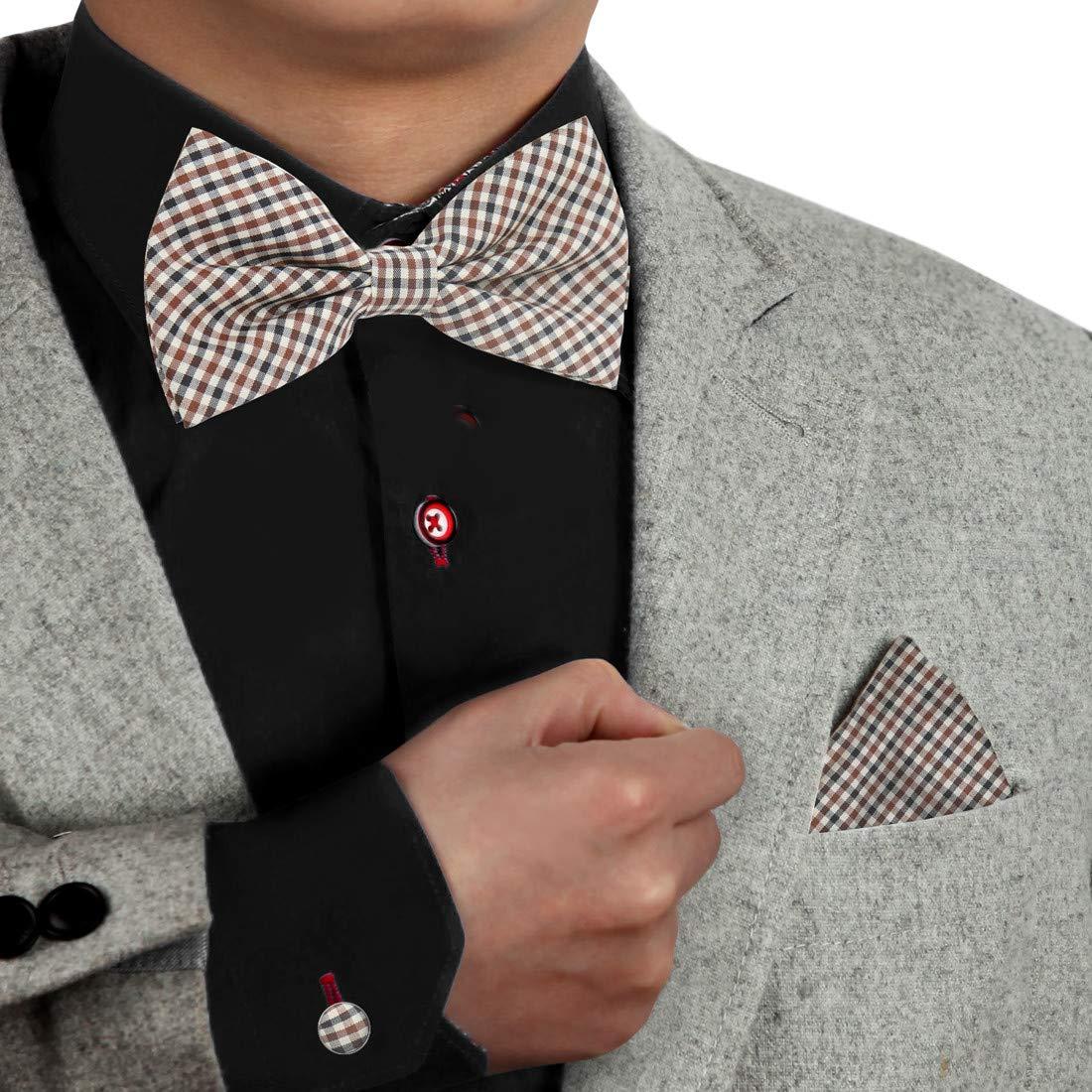 Dan Smith Mens Fashion Muticolors Checkers Microfiber Bow Tie Set With Free Gift Box
