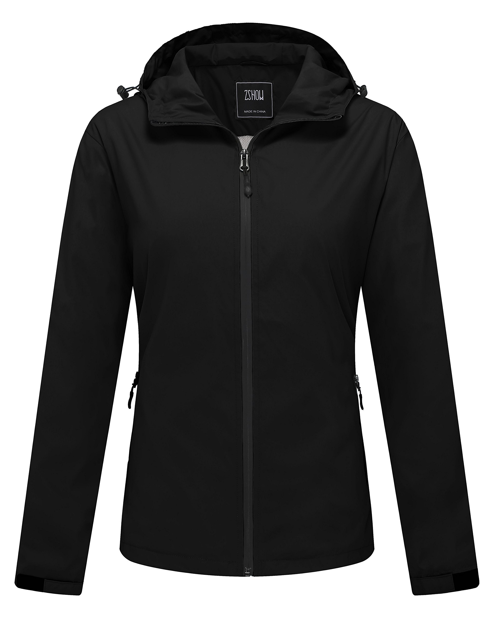 ZSHOW Women's Packable Water and Sand Repellent Windproof Outer Lightweight Runnning Jacket Windcheater with Hood (Black,Medium)