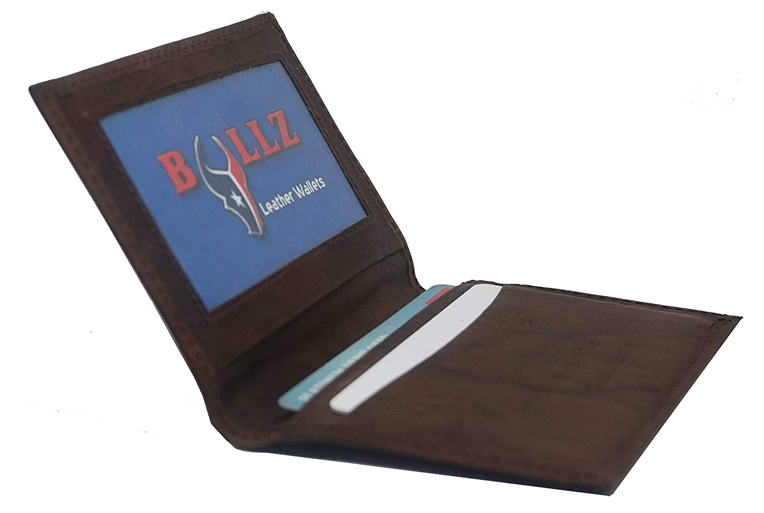 Mens Bifold Leather Thin Window Id Thin Plain Credit Cards Wallet