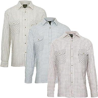 Camisa para hombre tattersal 100 % algodón de manga larga, a cuadros, estilo country informal, de franela 3 Pack XXXX-Large: Amazon.es: Ropa y accesorios