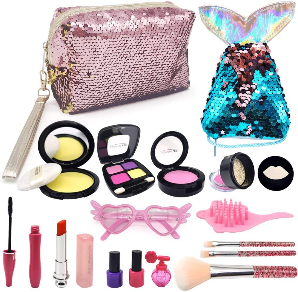 ASPPOPO Pretend Makeup for Girls, Makeup Set for Princess Toys Pretend Play Toys Makeup Kits with Cosmetic Bag Mermaid Tail Coin Purse Age 3, 4, 5, 6, 7 Girls Gift