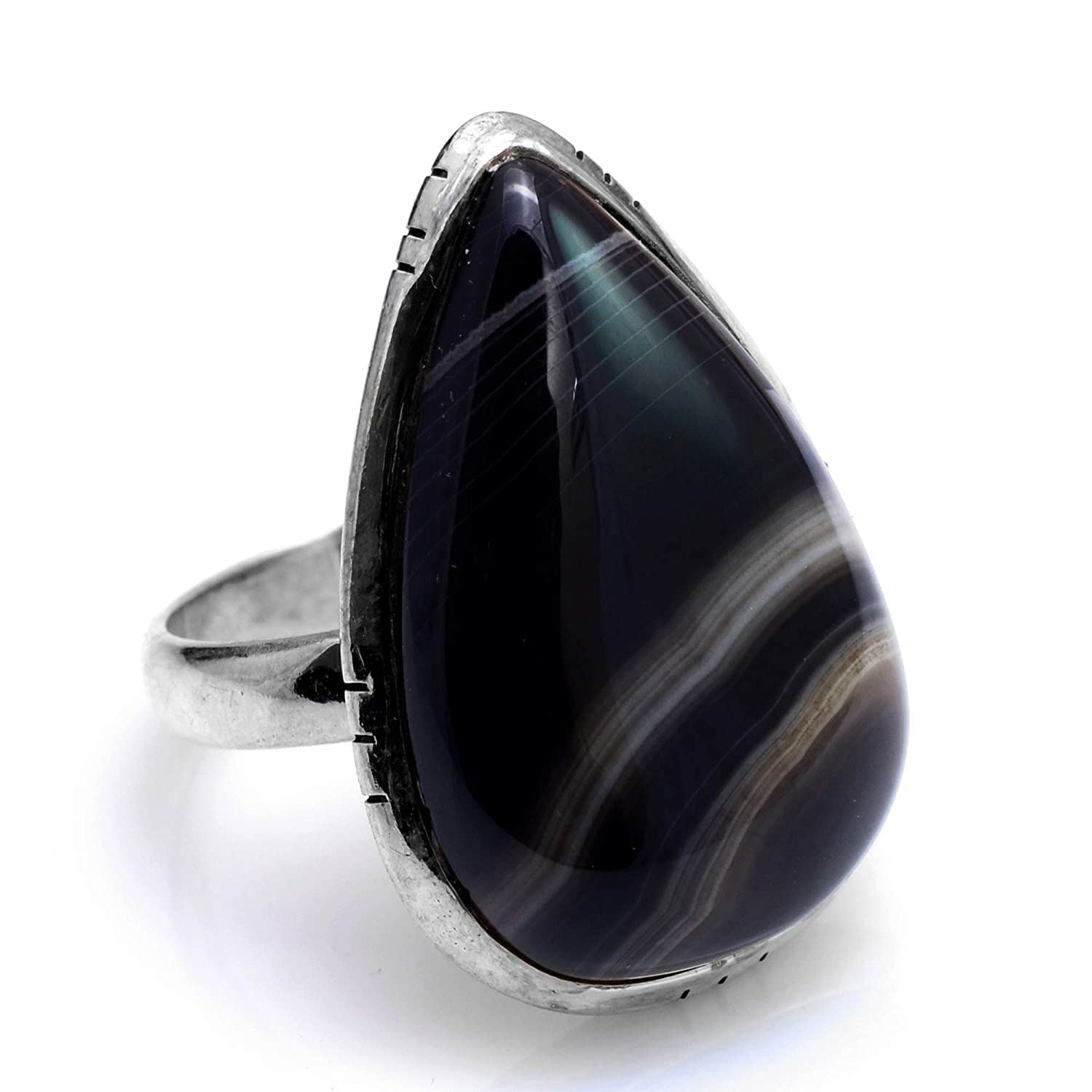 Silver Palace 925 Sterling Silver Natural Botswana Agate Ring for Womens and Girls
