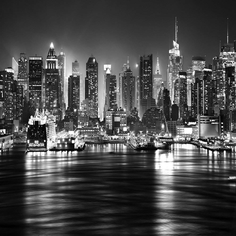 new york city at night skyline view black white wallpaper mural