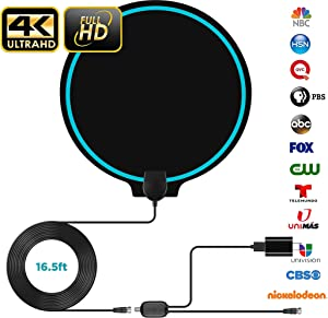 Digital Amplified Indoor HD TV Antenna Up to 80-120 Miles Range, Amplifier Signal Booster Support 4K 1080P UHF VHF Freeview HDTV Channels with Coax Cable… (Blue-Circle)