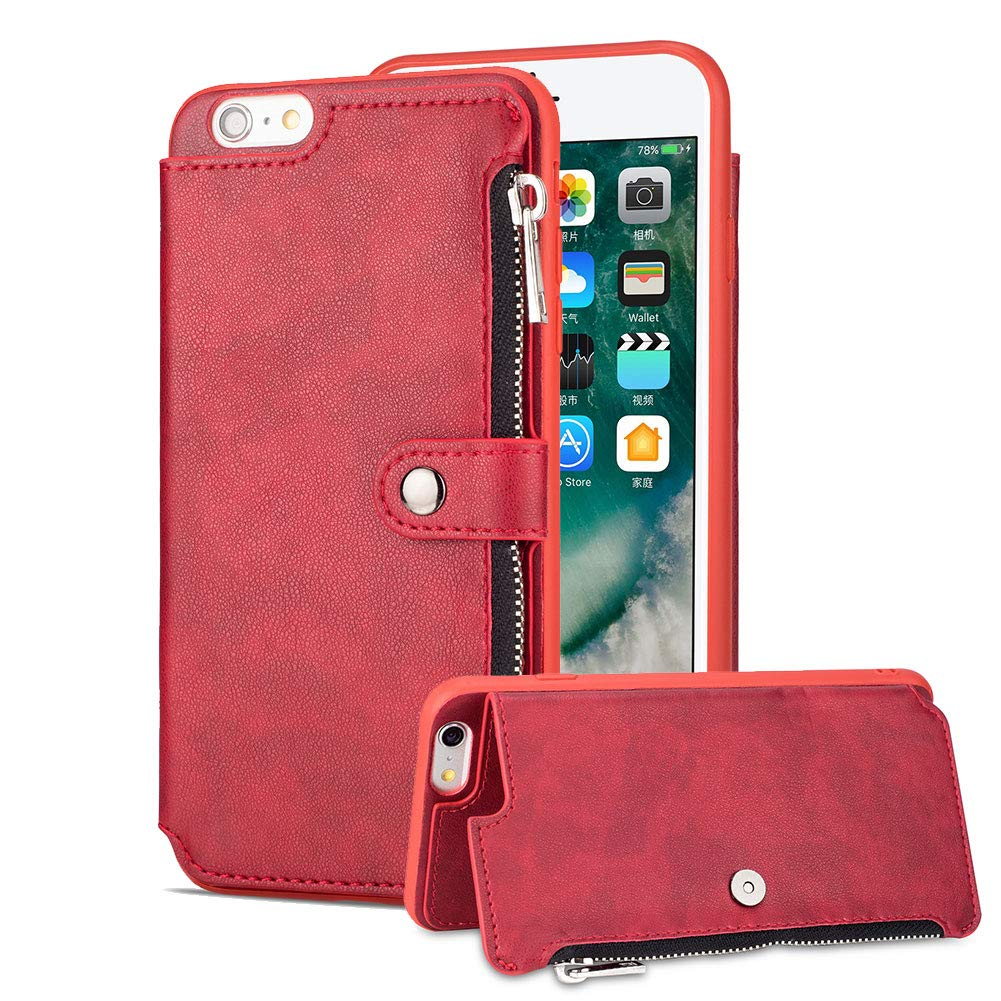 Aearl iPhone 6 Plus Zipper Wallet Case,Apple iPhone 6S Plus Leather Case with Card Holder,Flip Folio Credit Card Slot Money Pocket Magnetic Detachable Buckle Wallet Phone Case for Women Men-Red