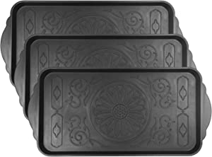 Fasmov 3 Pack Friendly Utility Boot Tray Mat Multi-Purpose Anti-Slip Tray Mat Boots, Dog Food Bowls, Gardening, Laundry, Kitchen, Garage, Entryway, 30.7