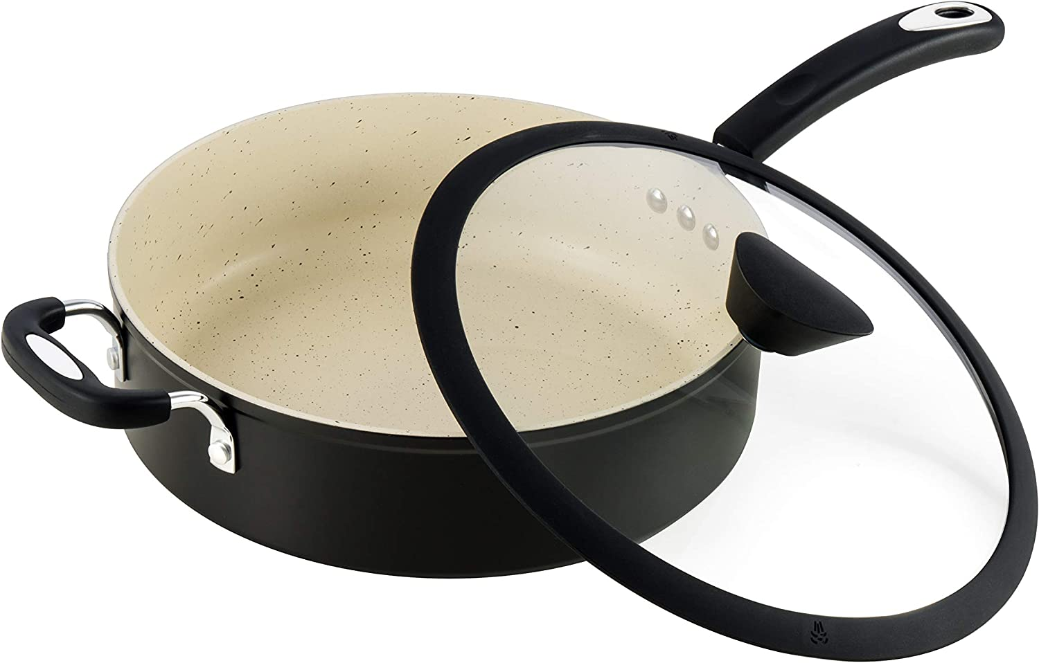 Ozeri Stone Earth All-in-One Sauce Pan 100% APEO, GenX, PFBS, PFOS, PFOA, NMP and NEP-Free German-Made Coating, 5 L (5.3 Quart), Lava Black