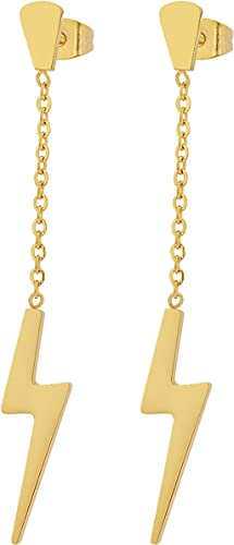 Amazon Com Edforce Stainless Steel Women S Girls Teens Earrings Lightning Bolt Dangle 60mm 2 4in Gold Jewelry