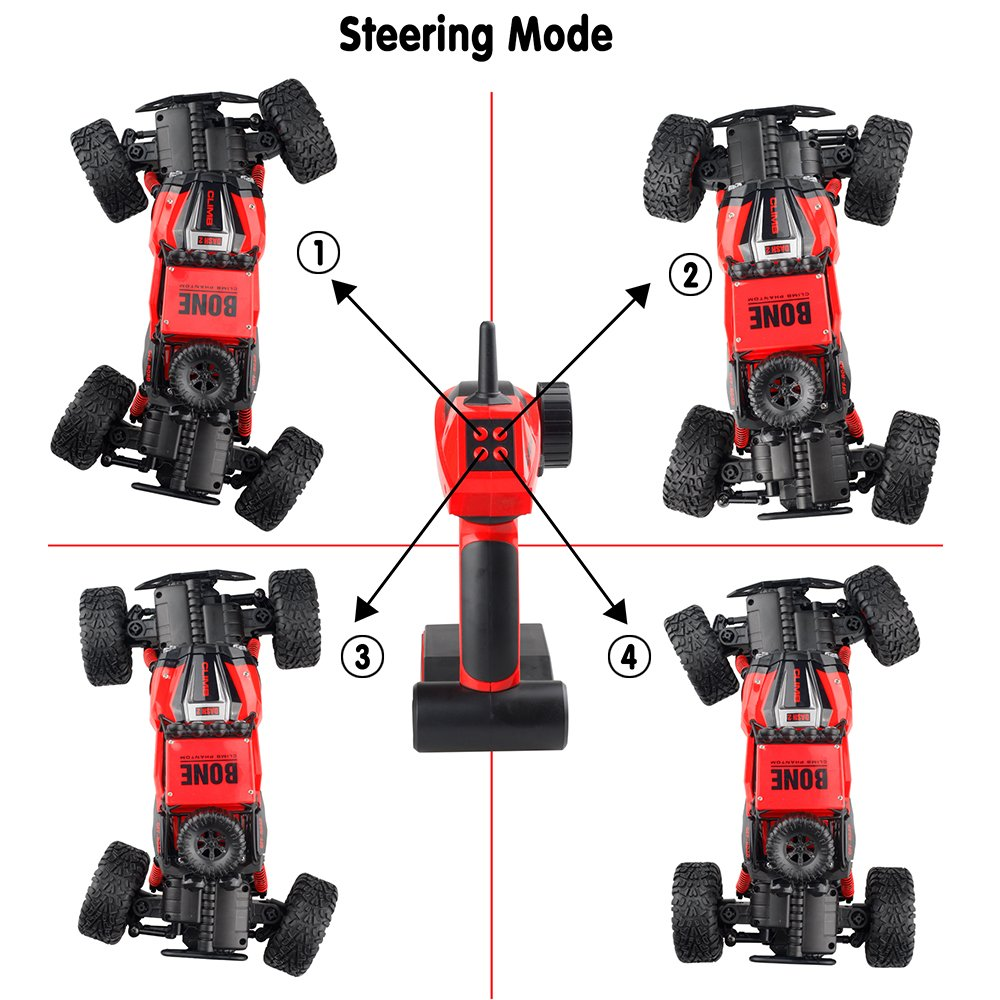Gizmovine RC Cars 4WD Rock Crawler Large Size Boys Remote Control Cars and Trucks 2.4Ghz Transformer Toy Electronic Monster Truck R/C Off Road for Kids, 2019 Update Version (Red) by Gizmovine (Image #8)
