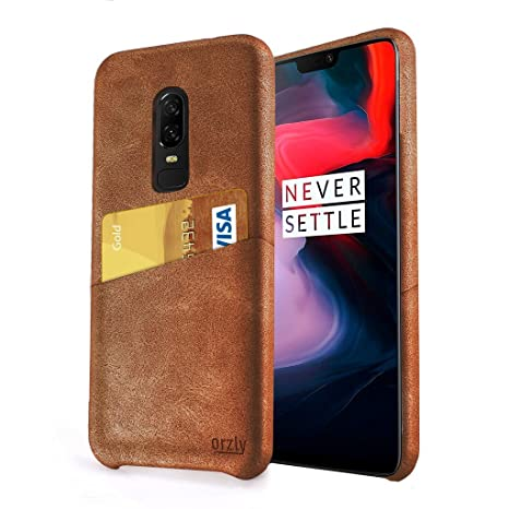 Orzly One Plus 6 Case Lux Grip Card Case For The One Plus6 Smartphone (2018 Model)   Protective Luxury Clip On Pu Leather Phone Case With Built In Card Slot And Comfortable Grip In Brown by Orzly