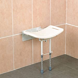 Homecraft - 48209 Wall-Mounted Steel Shower Chair, Folding Shower Seat with Rubber Fee, 352 lbs Weight Capacity