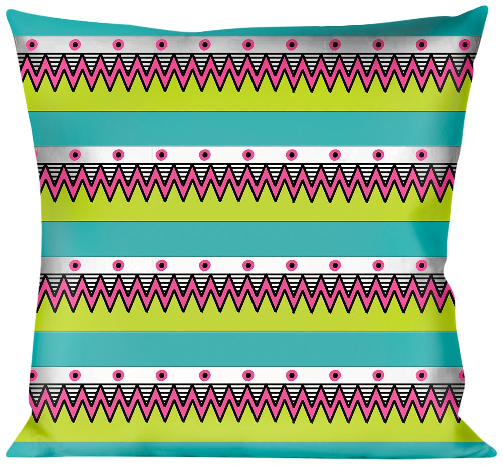 Buckle Down Aztec 14 Seafoam White/Pink/Lime Green/Black Throw Pillow